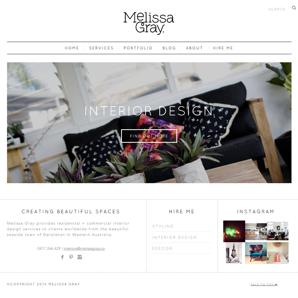 Melissa Gray home page design