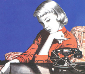 Illustration of Retro Fifties woman waiting by the phone
