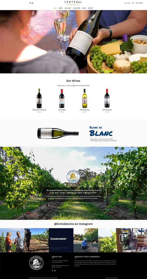 Lentedal Wines Home Page design