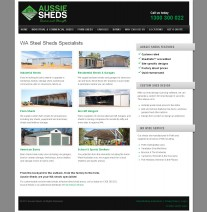 Aussie Sheds website home page